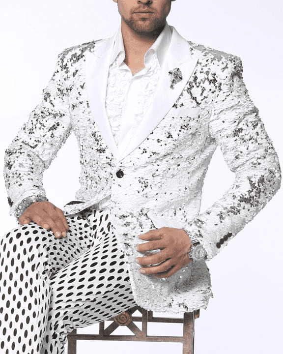 fancy White sequins blazer for men