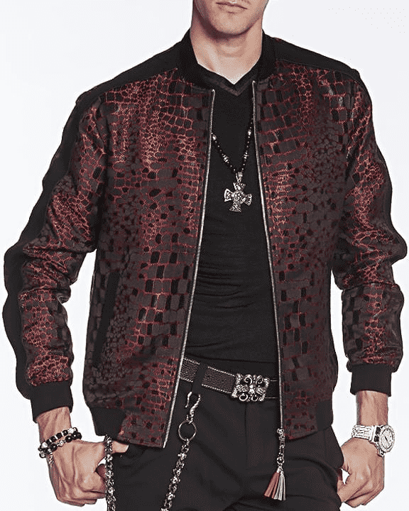 on trend Bomber Jacket:Croc red