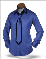 Men's New Fashion Angelino Silk Shirts SJ Blue - ANGELINO
