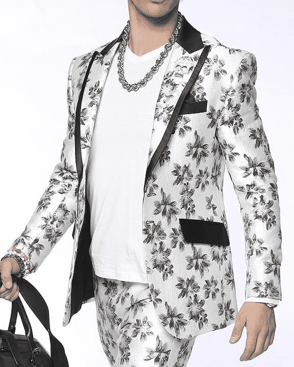 Men's Fashion Suit Rock F. White - ANGELINO