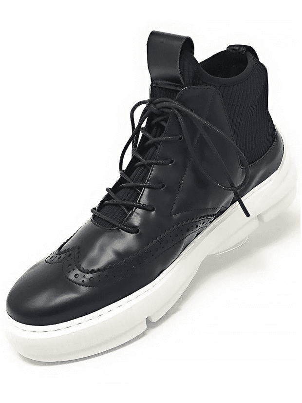 Black leather high-top wingtip sneakers,High top leather sneaker with wingtip design, corduroy and leather lining, rubber sole and light weight.