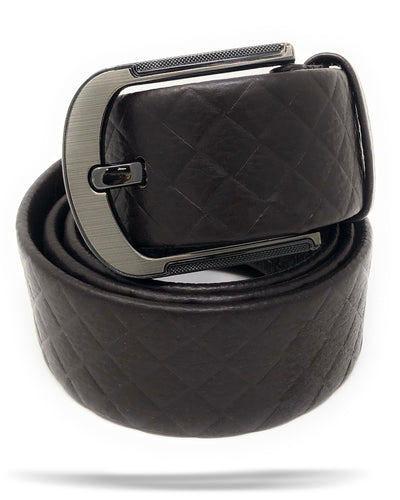 Men's Brown Genuine Leather Belt with Single Prong Buckle.