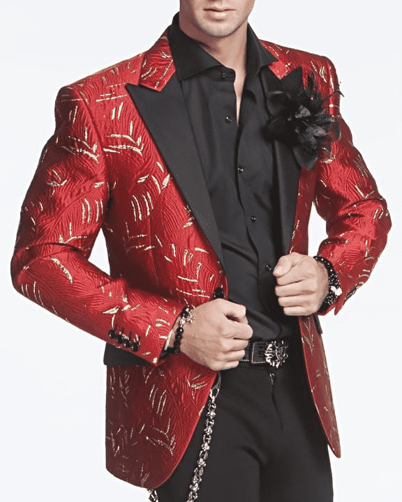 Red Blazer with black lapel, gold flakes of trim, fitted mens jacket