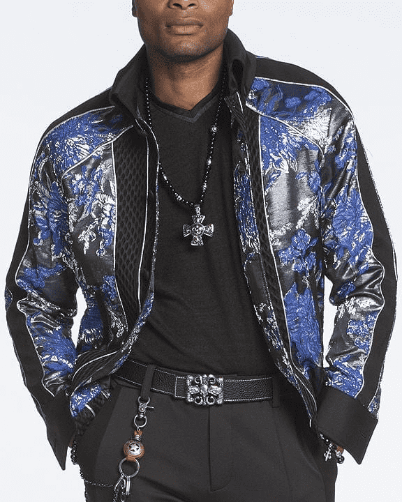 Men's Fashion Bomber Jacket Gold Leaf Blue - ANGELINO