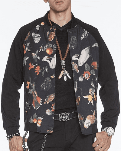 Bomber Jacket for men and women, collection of colorful birds printed front of the jacket