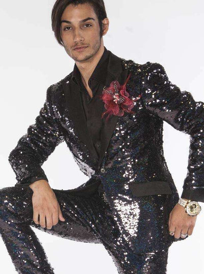 Sequin Suits for men black with black satin lapel - ANGELINO