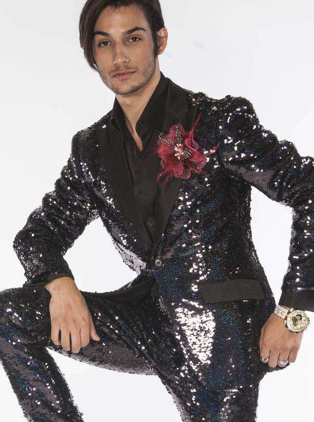 Men's Jacket Sequin Suits New R. Sequin Black - ANGELINO