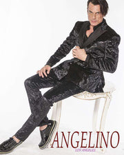 Men's Suits, Crushed Velvet Black - ANGELINO