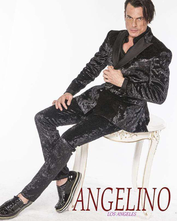 Men's Suits, Crushed Velvet Black - Prom - Suits - Tux - ANGELINO