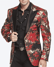 Mens Fasion Blazer-Gold Leaf Red