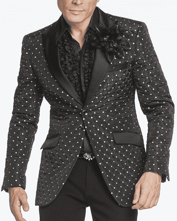 Sport Jacket, black with shiny sequin dots - Adam - ANGELINO