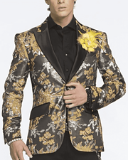 Men's Fashion Blazer Sport Coat Gold Leaf Gold - ANGELINO