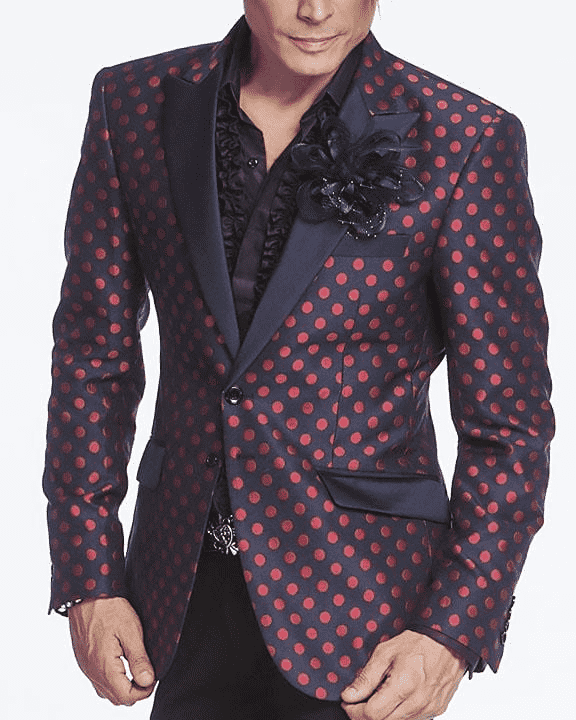 navy red polka dot blazer with navy lapel