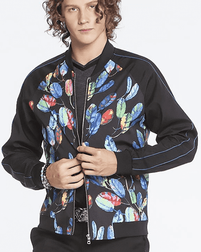 Bomber Jacket for men, black bomber jacket with colorful printed leaves at front