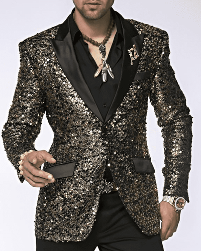 Mens Sequin Blazer, Sport Coat Stella 2 Gold - ANGELINO