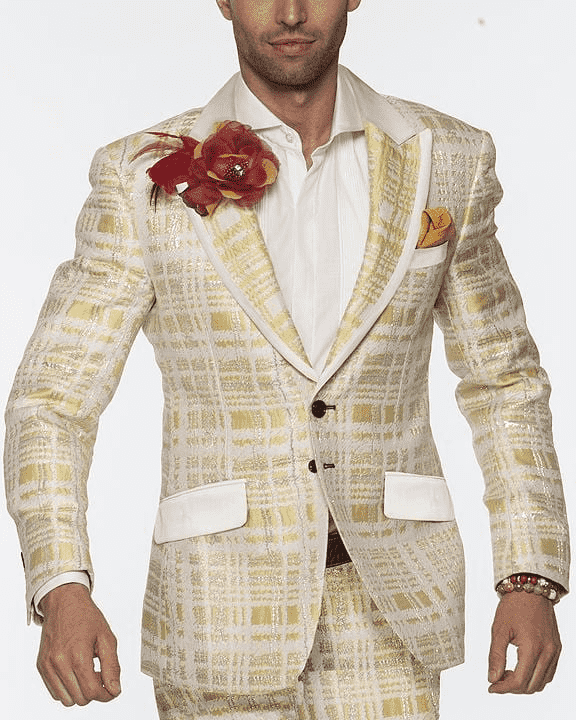 Men's Fashion Suit, Maro Yellow - ANGELINO