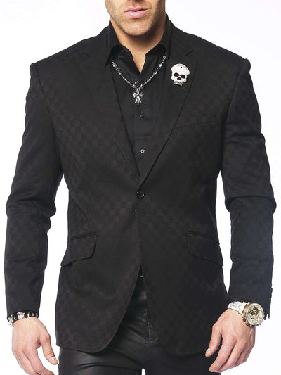 men's black check blazer, tone and tone check blazer