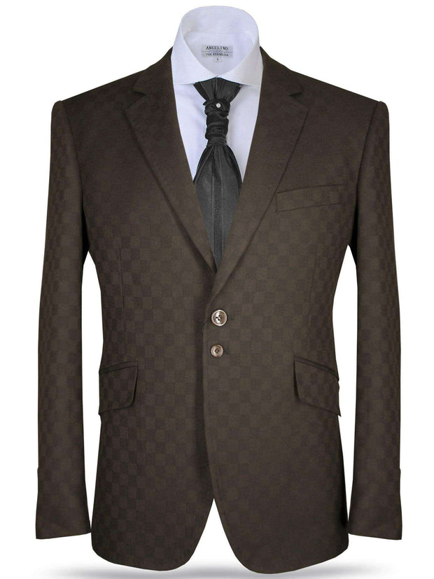 Men's blazer B. Check Brown - ANGELINO