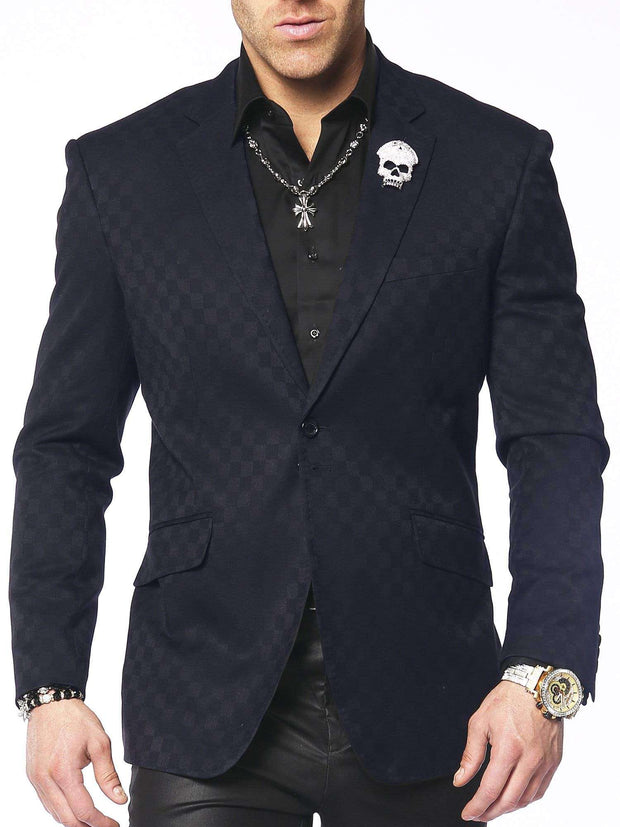 men's navy check blazer, tone and tone check blazer