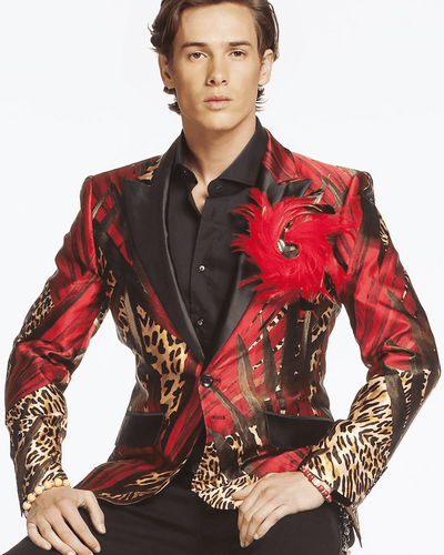 Men's Luxury Silk Blazer- Jungle