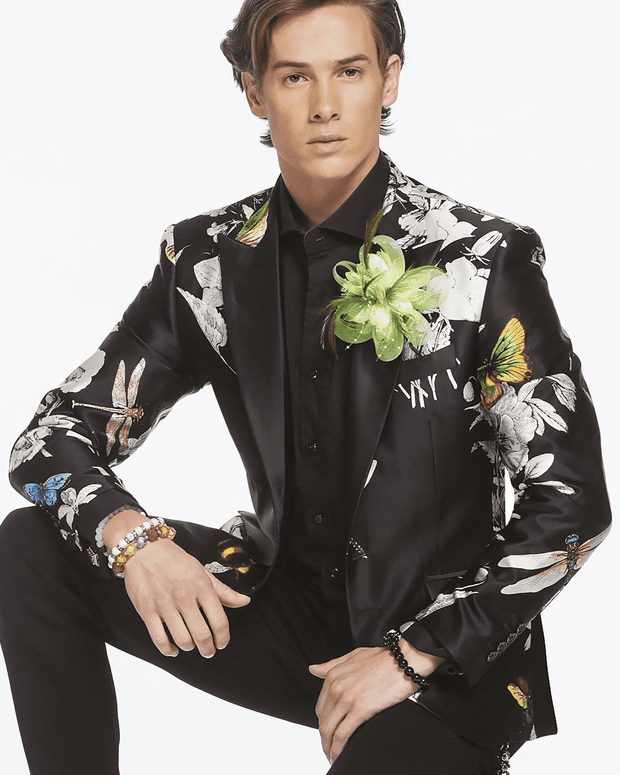 Men's Luxury Silk Blazer, hand printed fabric, white floral and colorful bees and dragonfly on black silk fabric