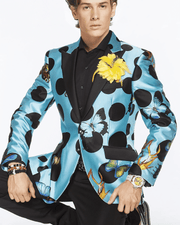 men silk blazer printed silk