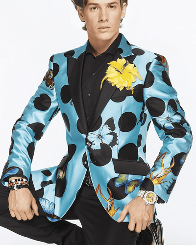 Men's Luxury Silk Blazer- Dot Butterfly