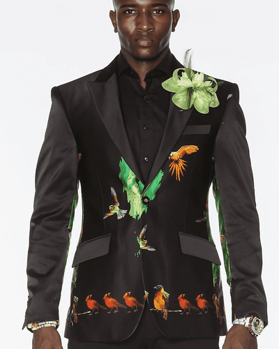 Men's  Blazer silk - Birds - ANGELINO