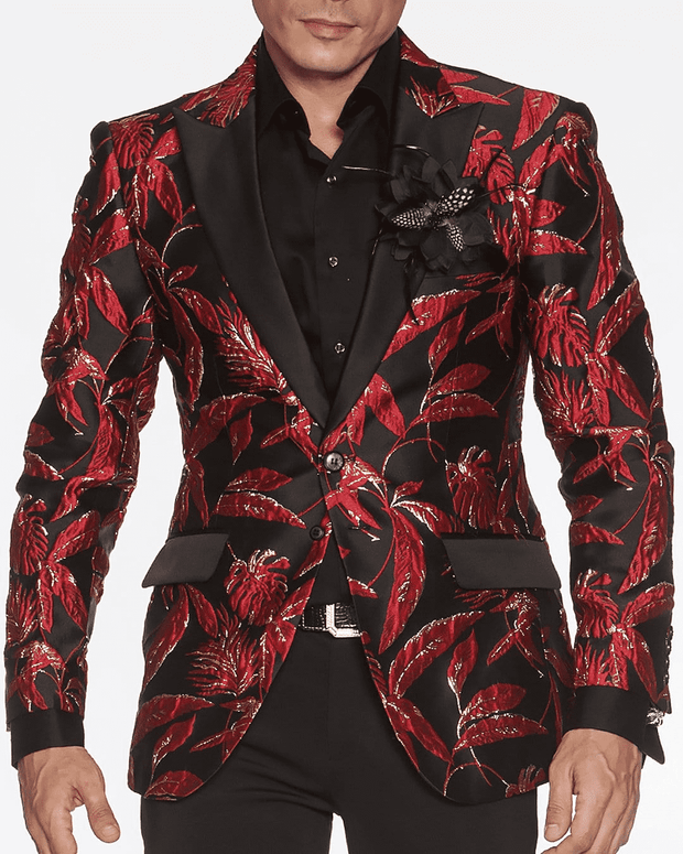 Men's Blazer, Theo Red - ANGELINO