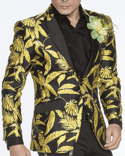 yellow and black floral blazer jacket for men