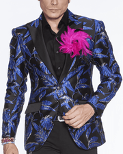 black blazer, royal blue, leaves, silver outline, print all over leaf, fashion blue black floral blazer for men peak lapel,single breast, structured, peak lapel, angle pockets, four buttons kissing sleeve, fully lined, english vent,