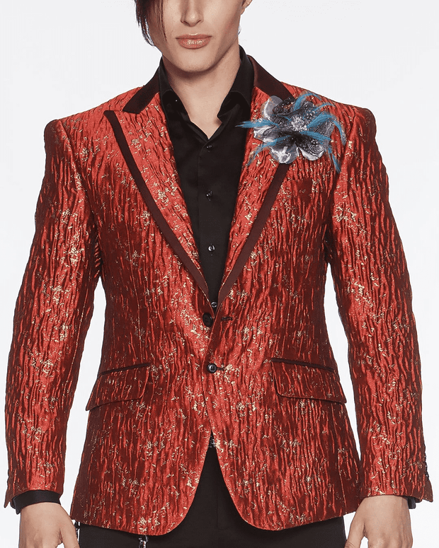 Men's Fashion Exotic Blazer Davis Red - ANGELINO
