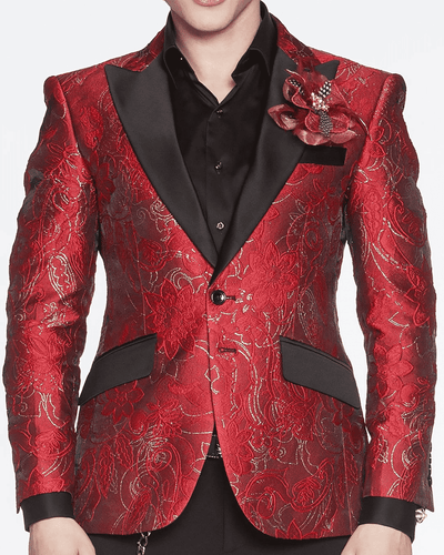 Men's Fashion Blazer London Red/Black - ANGELINO