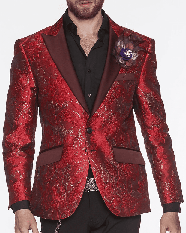 Red Blazer with burgundy lapel and pocket flaps
