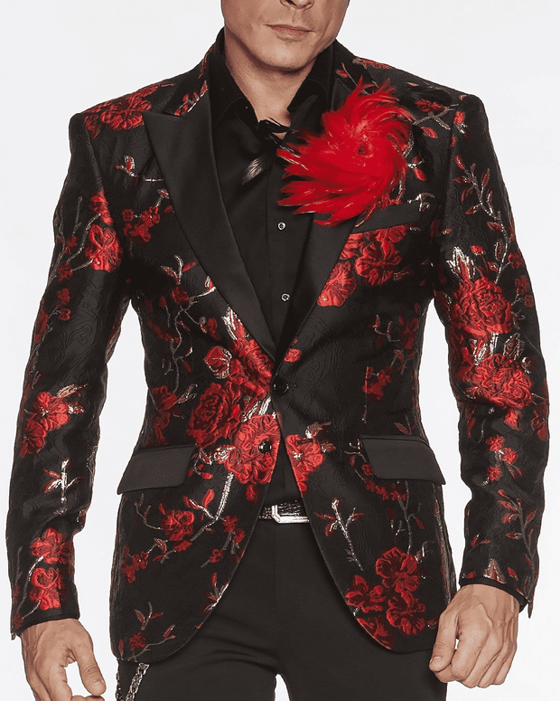 Fashion Blazer black with red and gold flower motives all over.