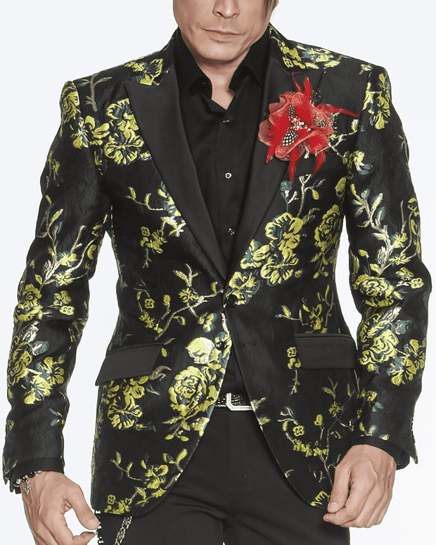 BLACK BLAZER, GREEN CAMELLIA FLOWERS, GOLD BRANCHES, PRINT ALL OVER, green and black fashion tuxedo blazer peak lapel,single breast, structured, peak lapel, angle pockets, four buttons kissing sleeve, fully lined, english vent,