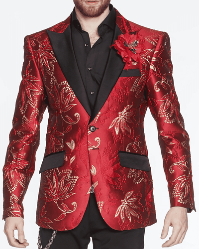 RED BLAZER, GOLD TRIM, PRINT ALL OVER, CLEMATIS FLOWER, ORNAMENTAL, red fashion blazer with big floral motives, black solid fine satin lapel, pocket flaps,single breast, structured, peak lapel, angle pockets, fully lined, english vent