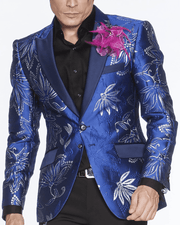BLUE ROYAL BLAZER, SILVER TRIM, PRINT ALLOVER, CLEMATIS, FLOWER, ORNAMENTAL, blue floral blazer for men,single breast, peak lapel, angle pockets, four buttons kissing sleeve, fully lined, english vent,