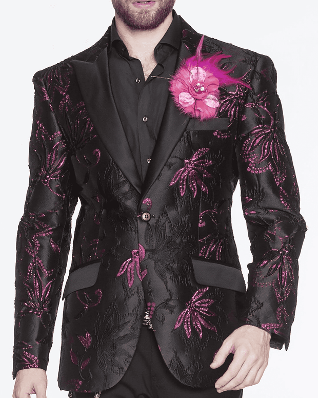 PINK FLOWER, BLACK BLAZER, PRINT ALL OVER, CLEMATIS FLOWER, pink and black fashion blazer for men peak lapel,single breast, structured, peak lapel, angle pockets, four buttons kissing sleeve, fully lined, english vent,