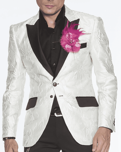 White Blazer for men with black lapel.