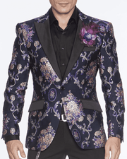 NAVY BLAZER, PURPLE ORNAMENTS, PINK SHADOWS, PRINT ALL OVER, navy floral fashion blazer for men peak lapel,single breast, structured, peak lapel, angle pockets, four buttons kissing sleeve, fully lined, english vent,