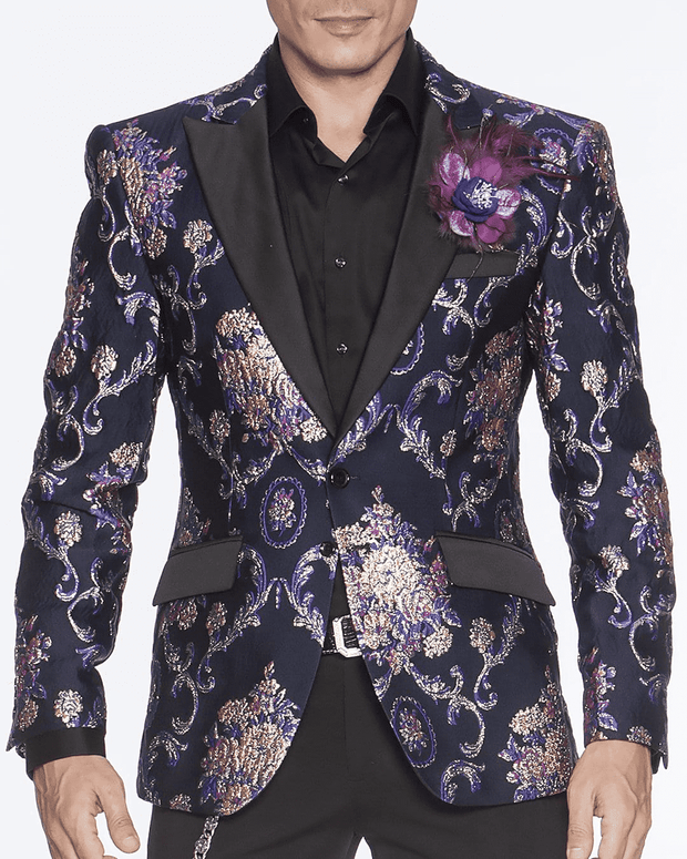 Men's Fashion Blazer-Cooper Purple & Navy - ANGELINO