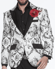 white blazer with silver victorian motives for men