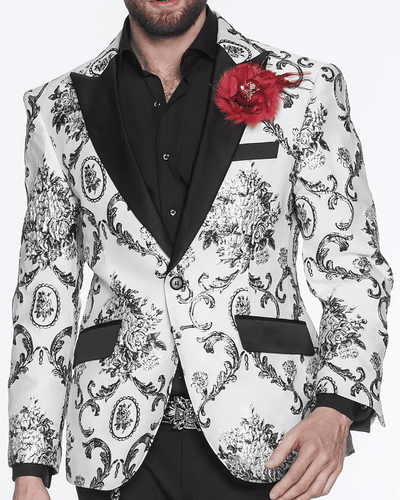 BLACK ORNAMENTS ALL OVER PRINT, REEF, white blazer with silver victorian motives for men peak lapel,single breast, structured, peak lapel, angle pockets, four buttons kissing sleeve, fully lined, english vent,