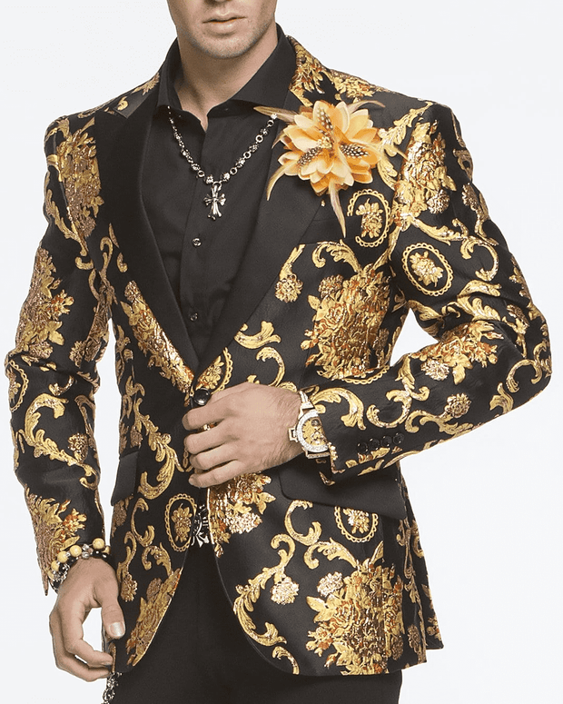victorian yellow and black blazer for men