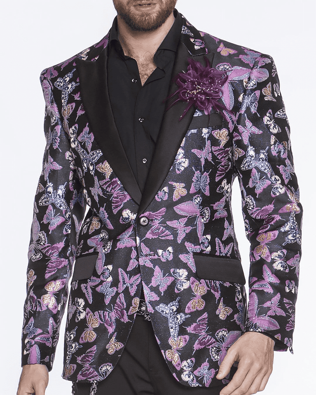 black blazer, purple and teal butterfly's, shine, spark, flock of butterfly's, all over print of butterfly, print aLLOVER, butterfly blazer for men peak lapel