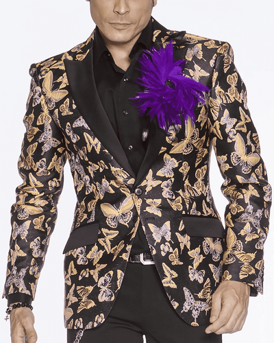 Men's Fashion Blazer-Small Butterfly Yellow