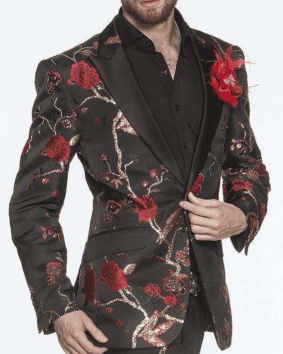 BLACK BLAZER, GOLD TREE BRANCHES, RED CHERRY BLOSSOM FLOWERS, red blazer for men peak lapel,single breast, structured, peak lapel, angle pockets, four buttons kissing sleeve, fully lined, english vent,