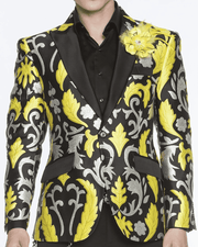 BLACK BLAZER, YELLOW REEFS, SILVER ORNAMENTS, fashion blazer for men Victorian yellow peak lapel