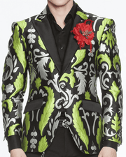 Men's Fashion Blazer-Big Victorian Green - ANGELINO